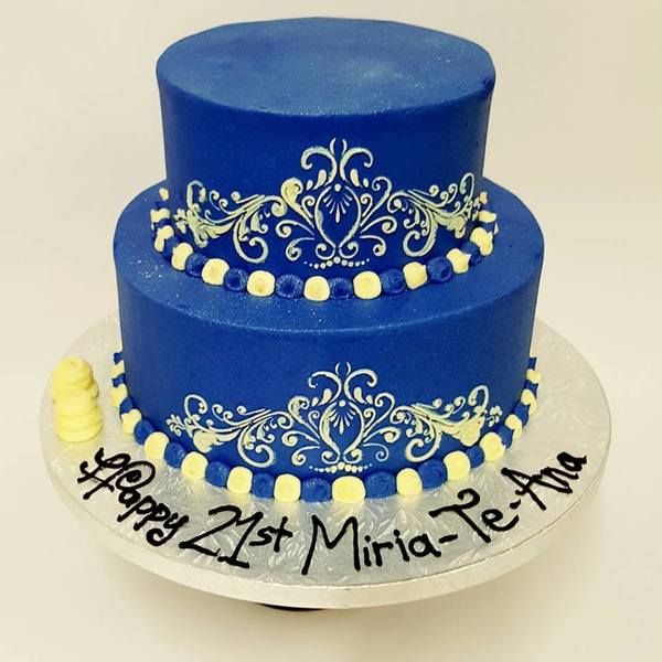 Two tier Deep Blue with Cream Stencil