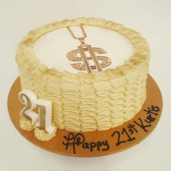 Cream Ruffle with Gold Medallion (with edible image)