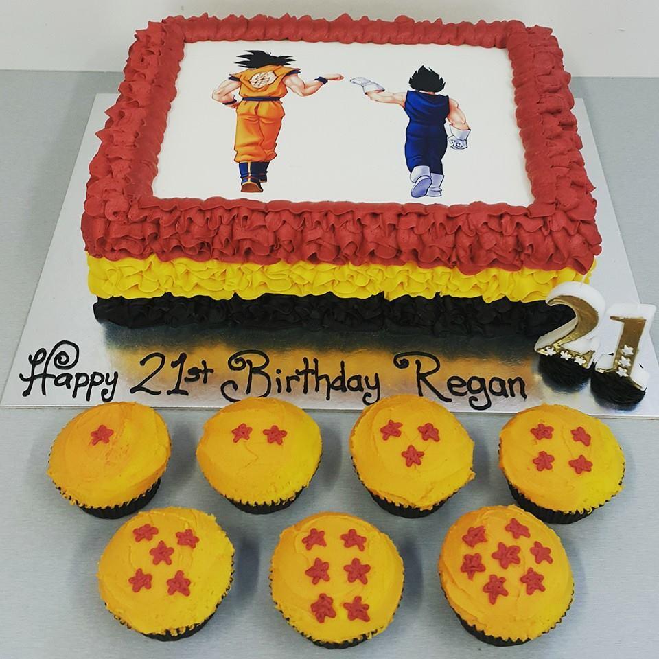 Dragon Ball Z Cake and Dragon Ball Cupcakes with edible image