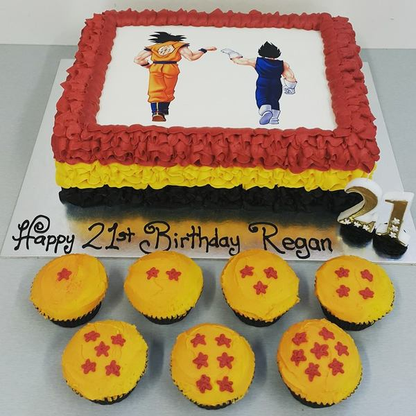 Dragon Ball Z Cake And Cupcakes With Edible Image