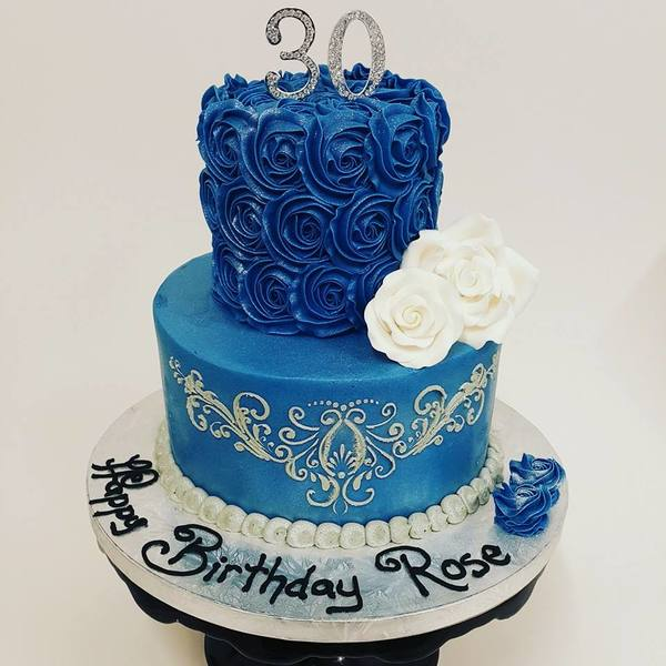 Two Tier Smooth Blue with Stencil and Roses