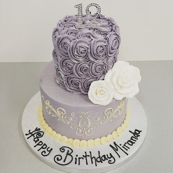 Two Tier Smooth Lilac with Stencil and Roses