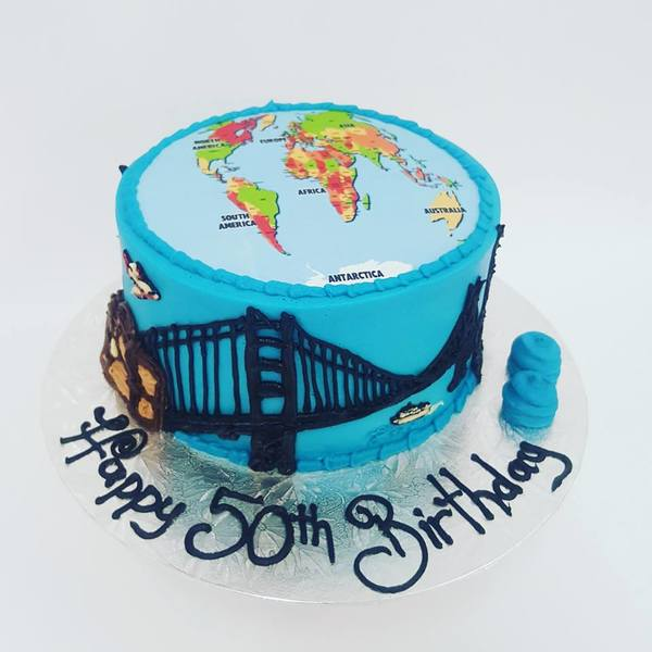 World Travel Cake (with Edible Image)