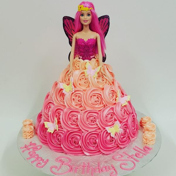 Pink Fairy Barbie with Pink Ombre Roses
