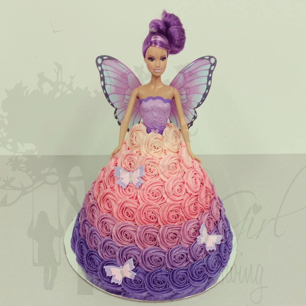 Purple to Pink Ombre Small Roses Fairy Cake