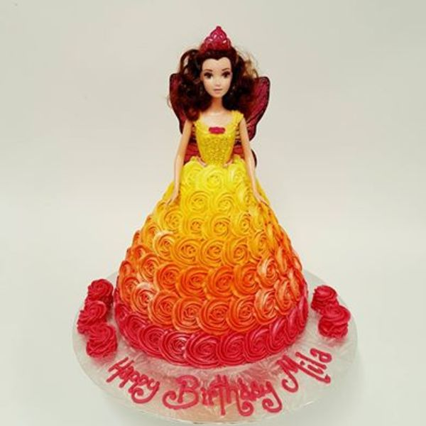 Fairy with Sunset Roses Cake