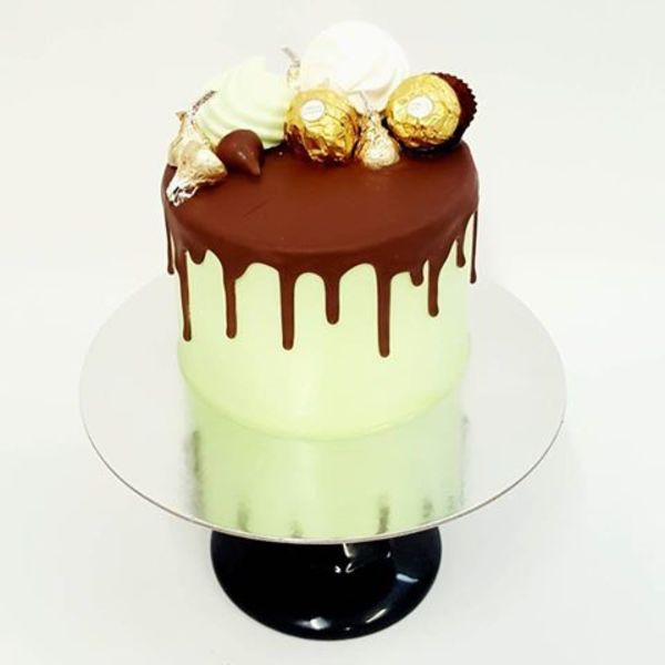 Mint Green Mini Drip Cake With Toppings