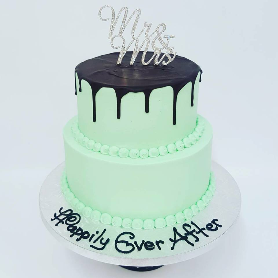 Mint Green Two Tier With Dark Chocolate Drip