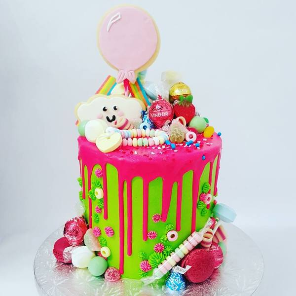 Bright Green and Pink Drip Lolly Overload Cake
