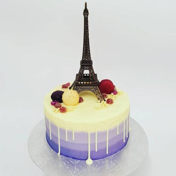 Purple Ombre Cake with White Chocolate Drip and Eiffel Tower