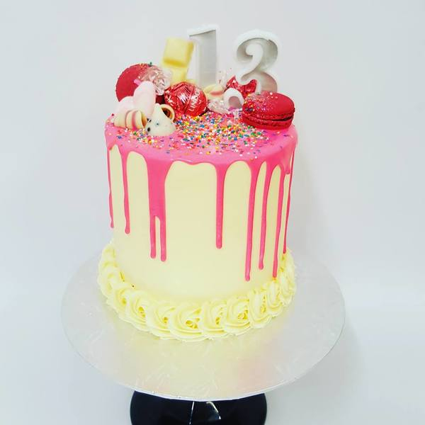 Smooth Cream with Bright Pink Drip and Bright Toppings