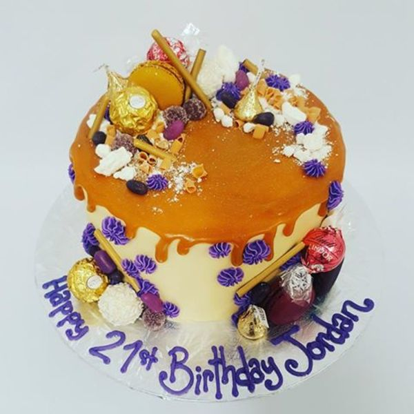 Smooth Cream and Purple Salted Caramel Drip Cake