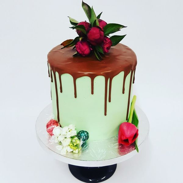 Tall Smooth Mint with Chocolate Drip and Fresh Flowers