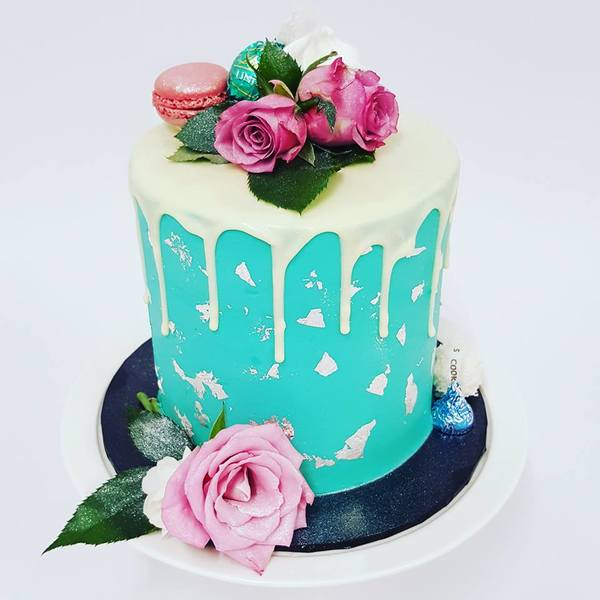 Teal and White Chocolate Drip with Silver leaf and Fresh Flowers