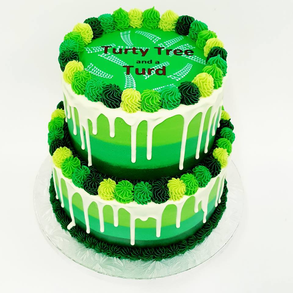 Two Tier Smooth Three Colour Green Cake With White Chocolate Drip