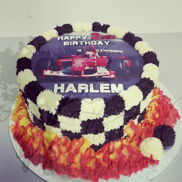 Race Car with Flames Cake (with edible image)