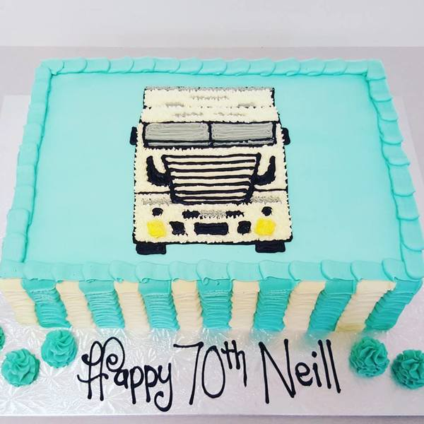 Rectangle Ruffle Cake with Truck Face