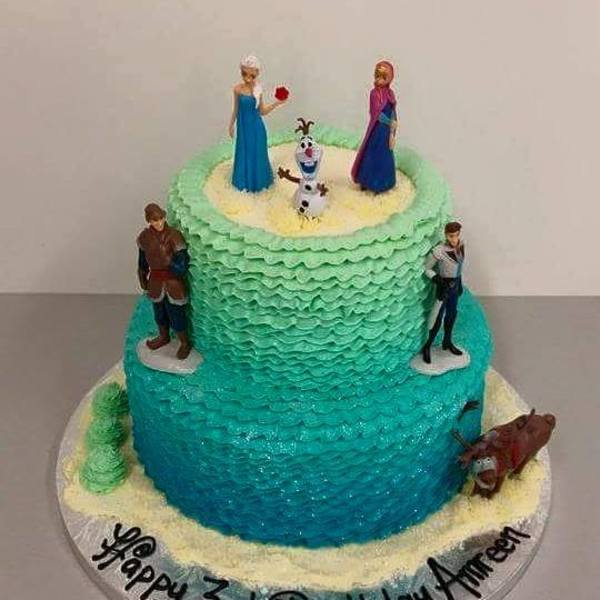 Two Tier Ombre Blue Frills with Frozen Figurines