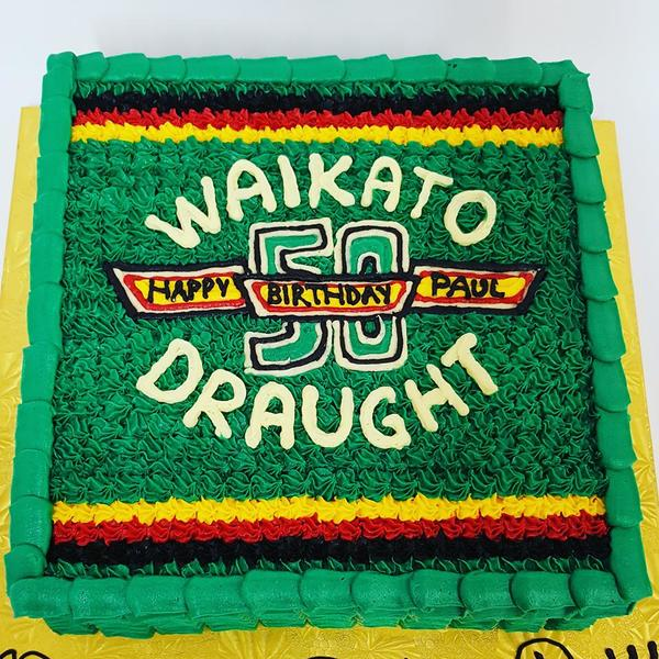 Square Cake with Piped Waikato Draught Logo