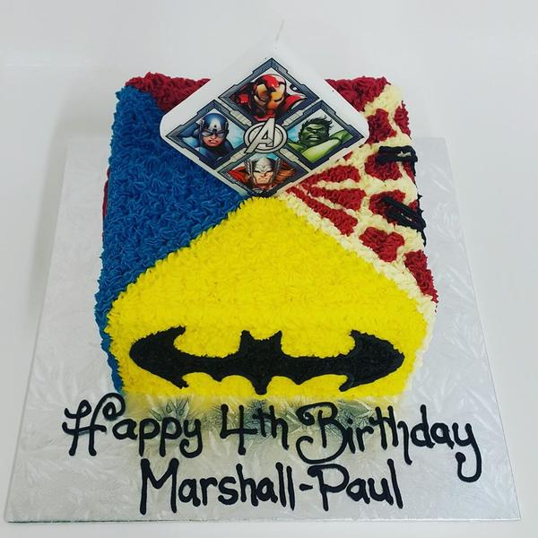 Superhero square with candle topper