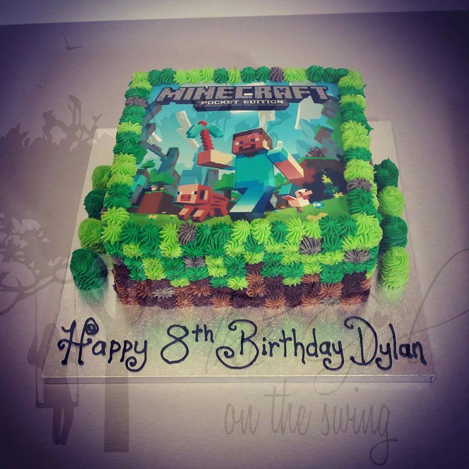 Minecraft Edible Image cake The Girl on the Swing