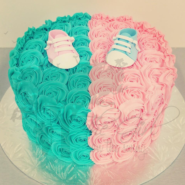 Blue and Pink Rose Gender Reveal Cake