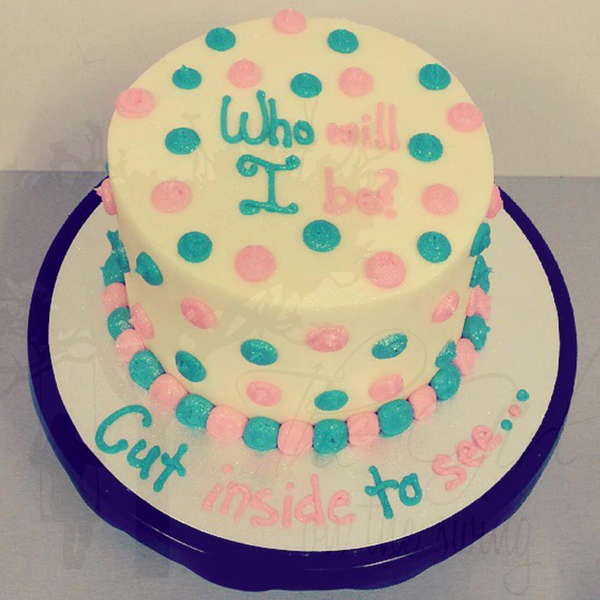 Blue and Pink Polka Dot Gender Reveal