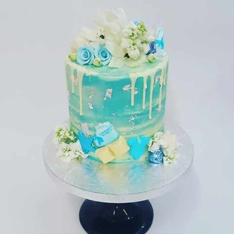 Smooth Blue Marble Drip Baby Shower Cake