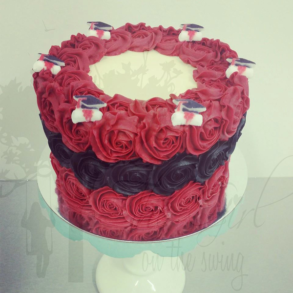 Red and Black Graduation Rose Cake