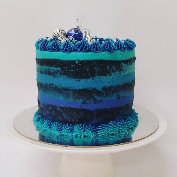 Blue Ombre Naked Cake with Chocolate Toppings