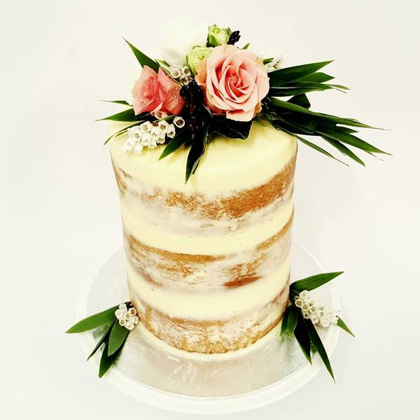 Cream naked Cake with Peach Roses and Greenery