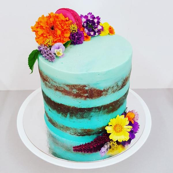 Blue Naked Cake with Bright Flowers