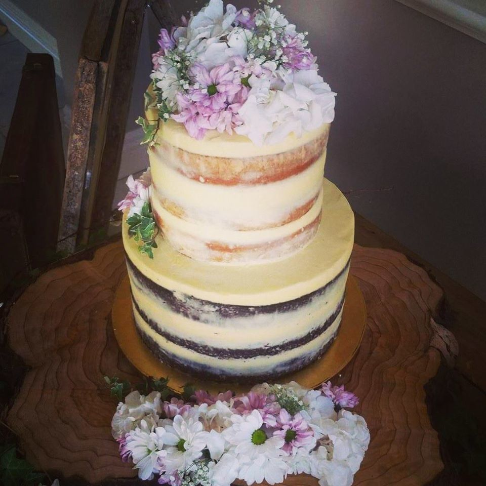 Two Tier Naked Cake With Fresh Flowers The Girl On The Swing