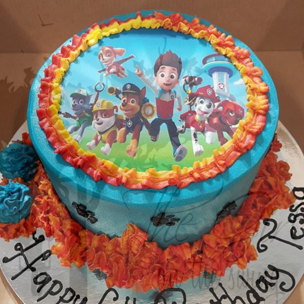 Smooth Blue Paw Patrol Cake  (with Edible Image)
