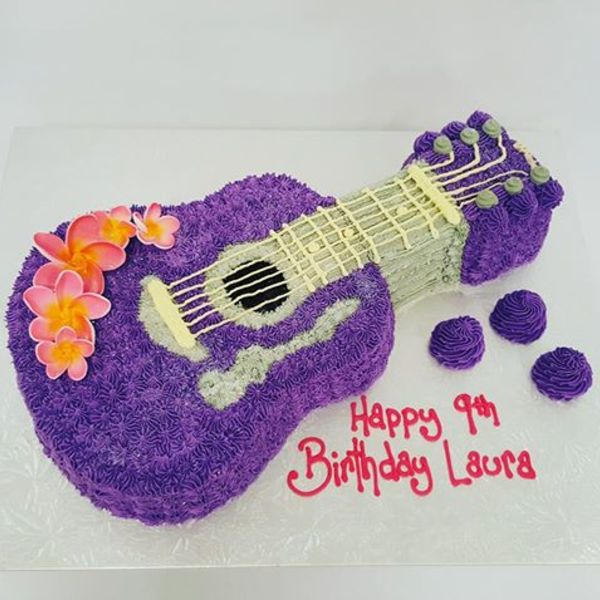 Purple Guitar with Frangipanis