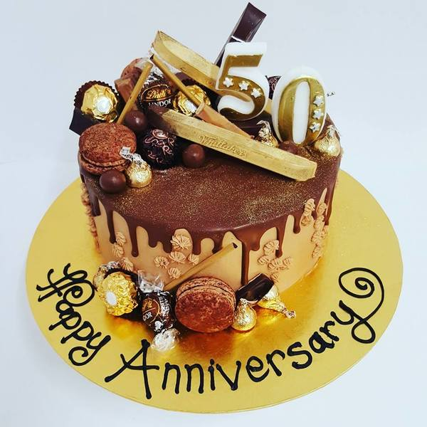 Chocolate and Gold 50th Anniversary Cake
