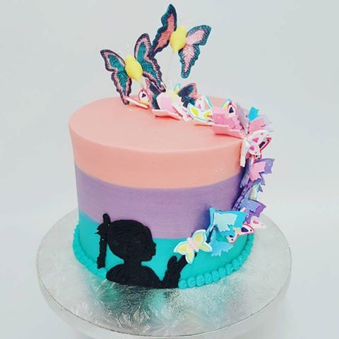 Three Colour Butterfly Cake With Silhouette Girl The