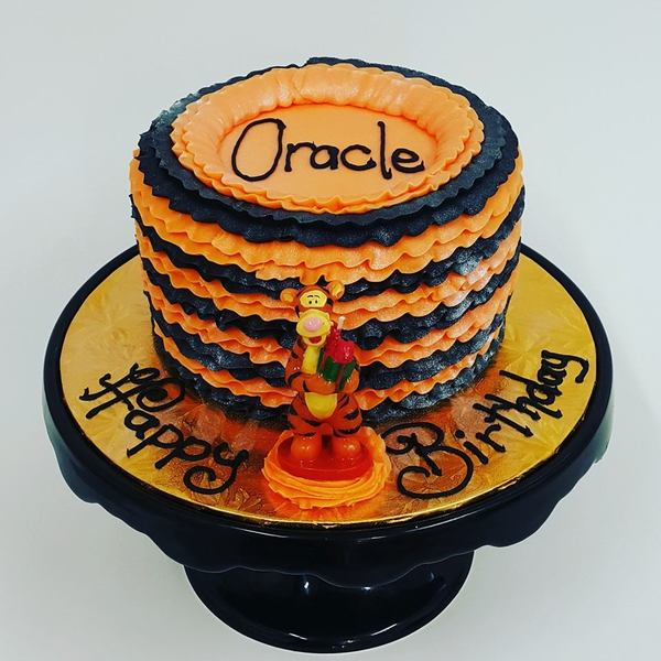 Tigger Black and Orange Frill Cake