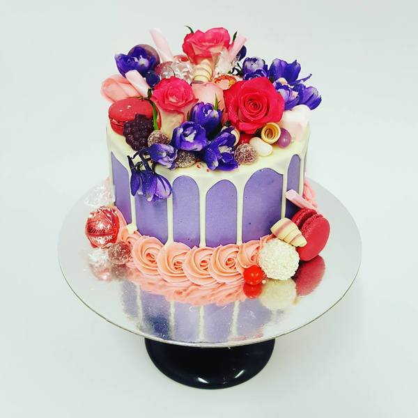 Smooth Purple with White Chocolate Drip and Fresh Flowers
