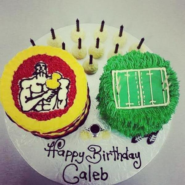 Chiefs and Rugby Field Cakes