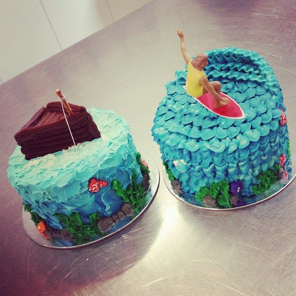 Fishing and Surfing Cakes