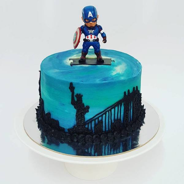 Captain America City Scape with Figurine