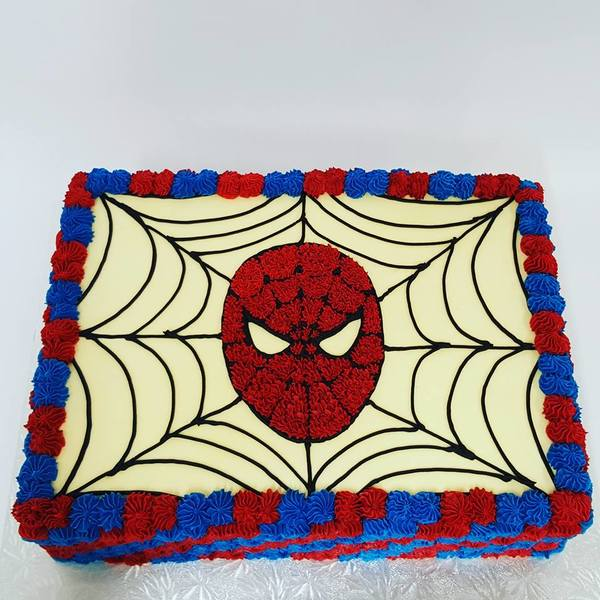 Rectangle Diagonal Red and Blue Stars with Spiderman Face