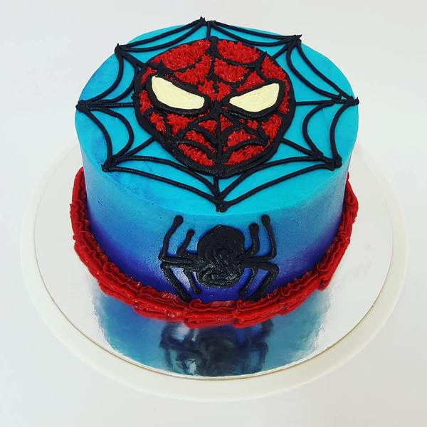 Smooth Ombre Blue with Piped Spider and Spiderman Face