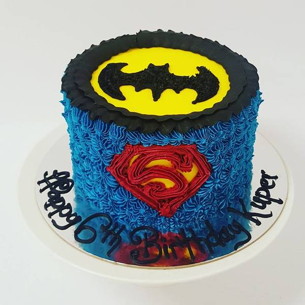 Superman and Batman Cake