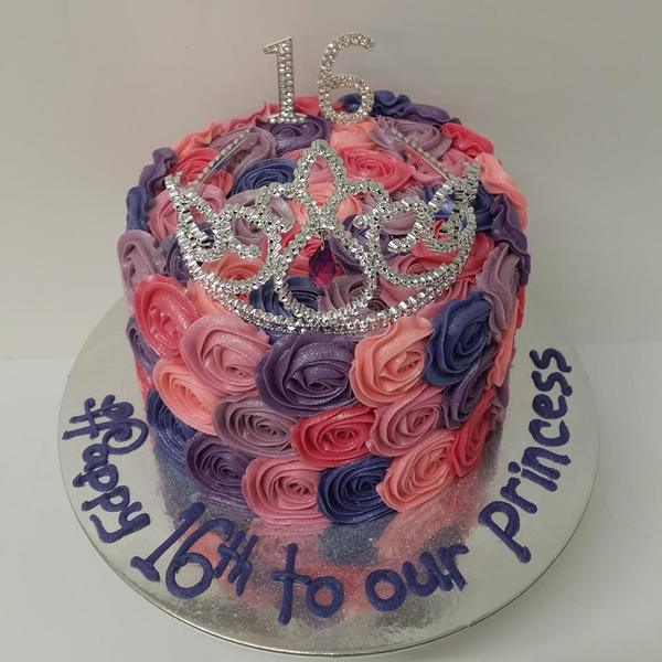 Pink and Purple Rose Cake with Crown