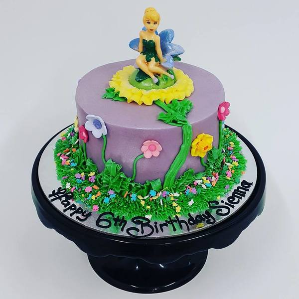 Tinkerbell Smooth Purple Garden Cake
