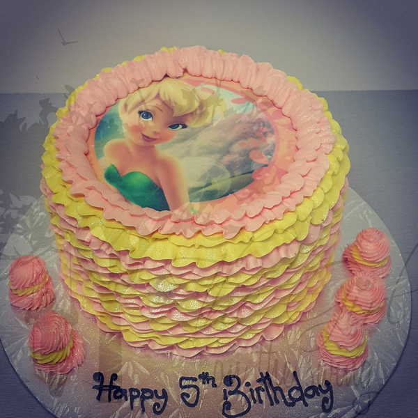 Pink and Yellow Frills with Tinkerbell Edible Image