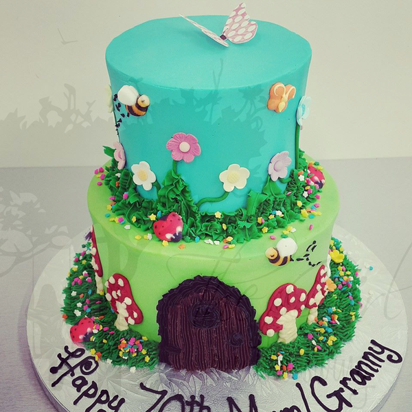 Two Tier Enchanted Door Garden Cake