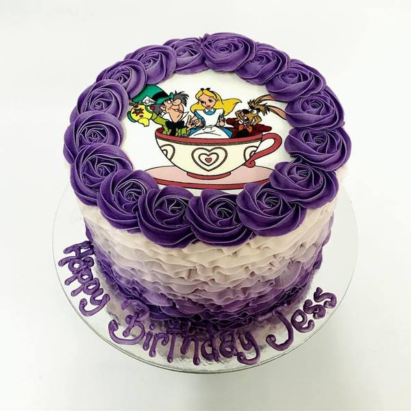 Purple Ombre Frills with Edible Image